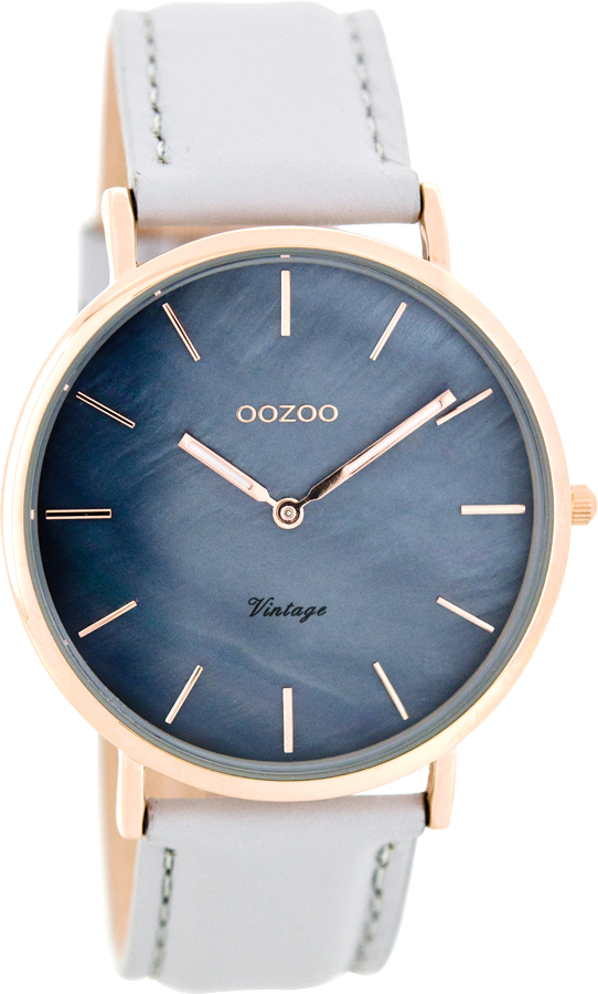 OOZOO Timepieces Vintage Rose Gold Grey Leather Strap C7766 - GoldSP -  Χρυσόλιθος e9ce07c0e86