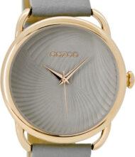 OOZOO Timepieces Rose Gold C9160 Γυναικείο ρολόι Oozoo με γκρι χρώμα καντράν και λουράκι από δέρμα.