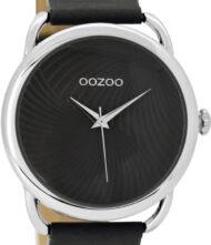 OOZOO Timepieces Black Leather Strap C9163 Γυναικείο ρολόι Oozoo με μαύρο χρώμα καντράν και μαύρο λουράκι από δέρμα.