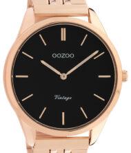 OOZOO Timepieces Vintage C9989 Unisex ρολόι Oozoo με μαύρο χρώμα καντράν και μπρασελέ από ανοξείδωτο ατσάλι.