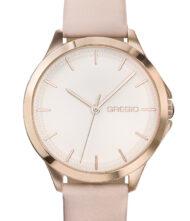 Γυναικείο ρολόι GREGIO Rosebery GR150080 Γυναικείο ρολόι Gregio με ροζ χρυσό καντράν και ροζ χρώμα δερμάτινο λουράκι.