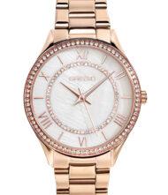 Γυναικείο ρολόι GREGIO Matie Crystals GR180030 Γυναικείο ρολόι Gregio με λευκό χρώμα καντράν και μπρασελέ από ανοξείδωτο ατσάλι.