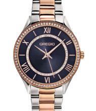 Γυναικείο ρολόι GREGIO Matie Crystals GR180040 Γυναικείο ρολόι Gregio με μαύρο χρώμα καντράν και μπρασελέ από ανοξείδωτο ατσάλι.