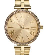 Γυναικείο ρολόι GREGIO Gisele GR190020 Γυναικείο ρολόι Gregio με χρυσό χρώμα καντράν και μπρασελέ από ανοξείδωτο ατσάλι.
