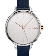 Γυναικείο ρολόι GREGIO Fiorella GR220060 Γυναικείο ρολόι Gregio με λευκό χρώμα καντράν και δερμάτινο μπλε λουράκι.
