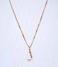 Γυναικείο Κολιέ Χρυσό Κ14 Με Μαργαριτάρια. Γυναικείο κολίε, χρυσό, 14 καράτια με πέτρες ζιργκόν και μαργαριτάρια.