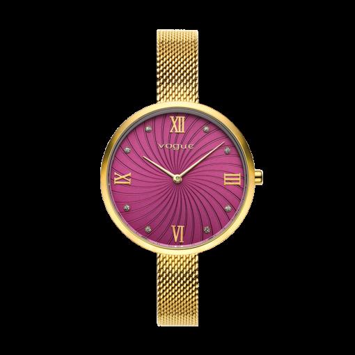 Γυναικείο ρολόι VOGUE Pop 812144 Γυναικείο ρολόι Vogue με μωβ χρώμα καντράν και χρυσό χρώμα μπρασελέ.