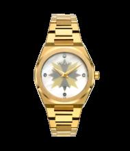 Γυναικείο ρολόι VOGUE Tornado L 813042 Γυναικείο ρολόι Vogue με μεταλλικό λευκό με γκρι και κίτρινα χρυσά σημεία χρώμα στο καντράν