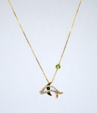 Γυναικείο Κολιέ από κίτρινο χρυσό 18 Καράτια με Διαμάντι σε Κοπή Μπριγιάν(Br). Κολιέ Λευκόχρυσο K.18 με Διαμάντια