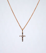 Γυναικείο Κολιέ από ροζ χρυσό 18 Καράτια με Διαμάντι σε Κοπή Μπριγιάν(Br). Κολιέ Λευκόχρυσο K.18 με Διαμάντια