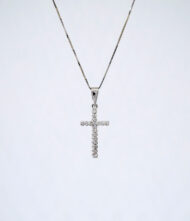Σταυρός Χρυσός K18 με Διαμάντια BR/K/20. Γυναικείος Σταυρός από Λευκό Χρυσό 18Καράτια με Διαμάντι σε Κοπή Μπριγιάν(Br).