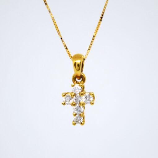 Σταυρός Χρυσός K18 με Διαμάντια BR/K/21. Γυναικείος Σταυρός από Λευκό Χρυσό 18Καράτια με Διαμάντι σε Κοπή Μπριγιάν(Br).