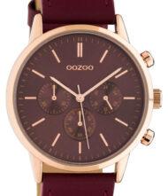 OOZOO Timepieces Summer Red Leather Strap C10599 Unisex ρολόι Oozoo με κόκκινο χρώμα καντράν και λουράκι από δέρμα.