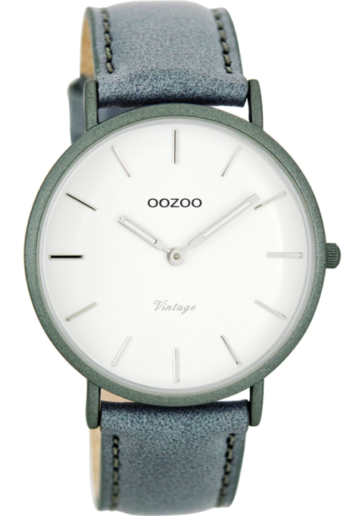 OOZOO Timepieces Vintage Blue Leather Strap C7739 Unisex ρολόι Oozoo με λευκό χρώμα καντράν και μπλε λουράκι από δέρμα.