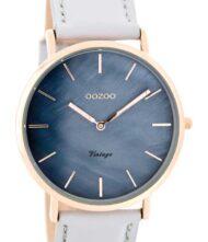 OOZOO Timepieces Vintage Rose Gold Grey Leather Strap C7766 Γυναικείο ρολόι Oozoo με μπλε φίλντισι χρώμα καντράν και γκρι λουράκι από δέρμα.