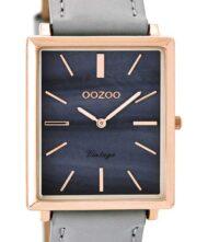 OOZOO Timepieces Vintage Rose Gold C8186 Unisex ρολόι Oozoo με φίλντισι χρώμα καντράν και γκρι λουράκι από δέρμα.