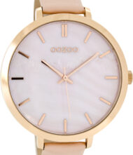 OOZOO Timepieces XXL Rose Gold Pink Leather Strap C8351