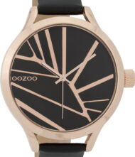 OOZOO Timepieces XL Rose Gold Black Leather Strap C9684
